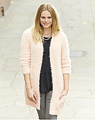 Long Fluffy Knitted Cardigan