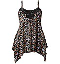 Print Asymmetric Lace Trim Camisole