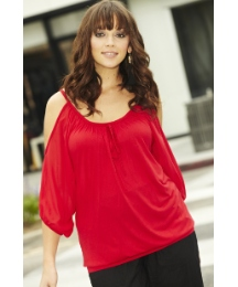 Chiffon Cut Out Sleeve Jersey Top