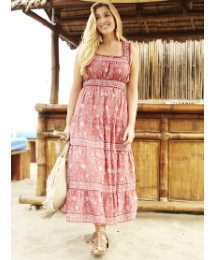 Petite Shirred Tiered Print Maxi Dress