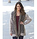 Fairisle Knit Cardigan With Fur Trim