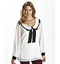 Monochrome Bow Collar Tie Blouse