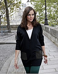 Leatherette PU Pocket Boyfriend Cardigan