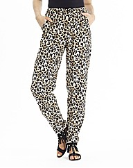 Animal Print Trousers Wih Tapered Leg