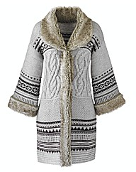 Fur Trim Cardigan Coat