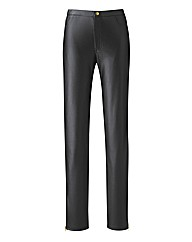 PU Zip Detail Trousers