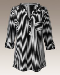 Striped Monochrome Shirt Style Top