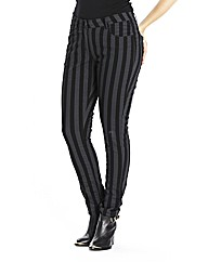 Waxy Striped Skinny Leg Jeans