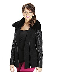Fur Trim Boucle Biker Jacket