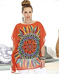 Print Kaftan Tunic with Jersey Cami