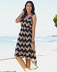 Printed Dipped Hem Dress