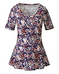 Floral Print Peplum Top Longer Length