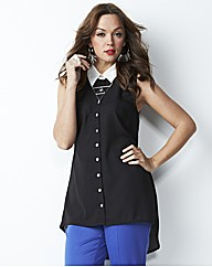 Dipped Hem Sleeveless Shirt