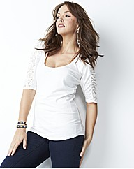 Lace Jersey Top with Ruched Sleeves