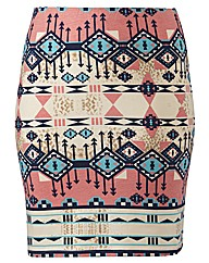 Aztec Print Tube Skirt Length 19in