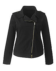Stretch Cotton Twill Biker Jacket