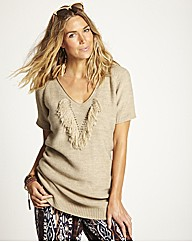 Fringe Front Knitted Jumper