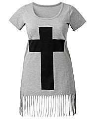 Cross Fringe Tassel Jersey Top