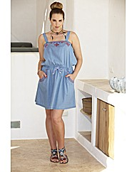 Embroidered Lightweight Denim Sun Dress