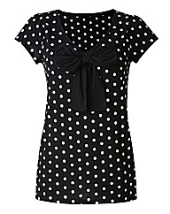 Spot Jersey T Shirt with Bow Trim