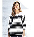 Lace Trim Jersey Striped Top