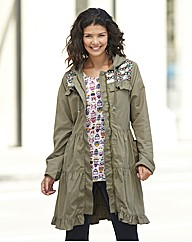 Heart Sequin Trim Parka Jacket
