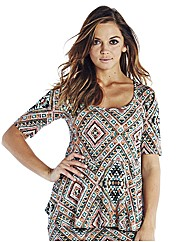 Aztec Print Peplum Longer Length