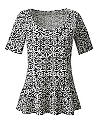 Monochrome Print Peplum Longer Length