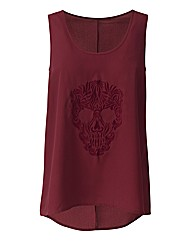 Embroidered Skull Vest