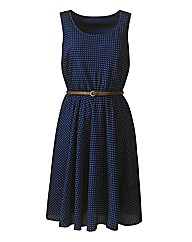 Sleeveless Spot Dress With Tan Belt