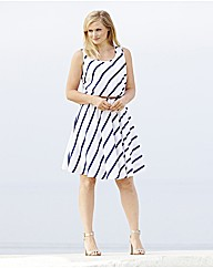 Sleeveless Striped Dress with Tan Belt