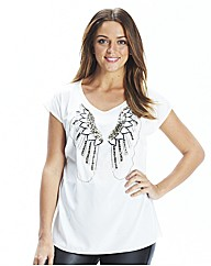 Bead and Sequin Trim Wings Top