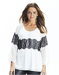 Lace Trim Blouse Longer Length