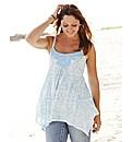 Print Asymmetric Lace Trim Camisole