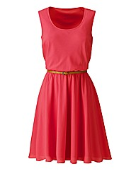 Sleeveless Dress with Tan Belt