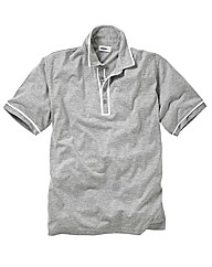 Jacamo Grey Marl Piped Polo Long