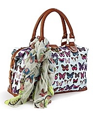 Blue Butterfly Overnight Bag & Scarf