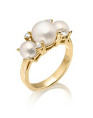 Gold-Plated Pearl & Cubic Zirconia Ring