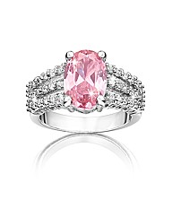 Pink & White Oval Cubic Zirconia Ring