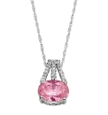Pink & White Oval Cubic Zirconia Pendant