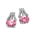 Pink & White Oval Cubic Zirconia Earring