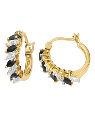 Sapphire & Diamond Accent Hoop Earrings