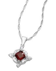 Silver-Plated Garnet Pendant