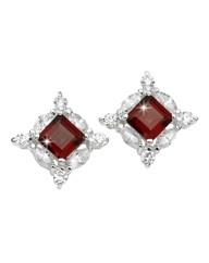 Silver-Plated Garnet Earrings