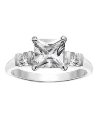 Silver-Plated Cubic Zirconia Ring