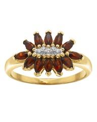 Garnet & Cubic Zirconia Ring