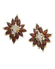 Garnet & Cubic Zirconia Earrings