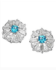 Silver-Plated Blue Topaz Earrings