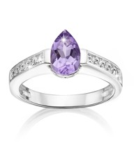 Silver-Plated Amethyst Pear Drop Ring