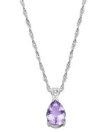 Silver-Plated Amethyst Pear Drop Pendant